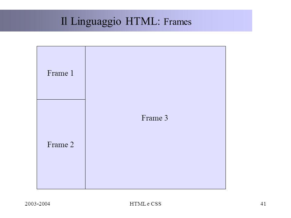 2003-2004HTML e CSS41 Il Linguaggio HTML: Frames Frame 3 Frame 1 Frame 2