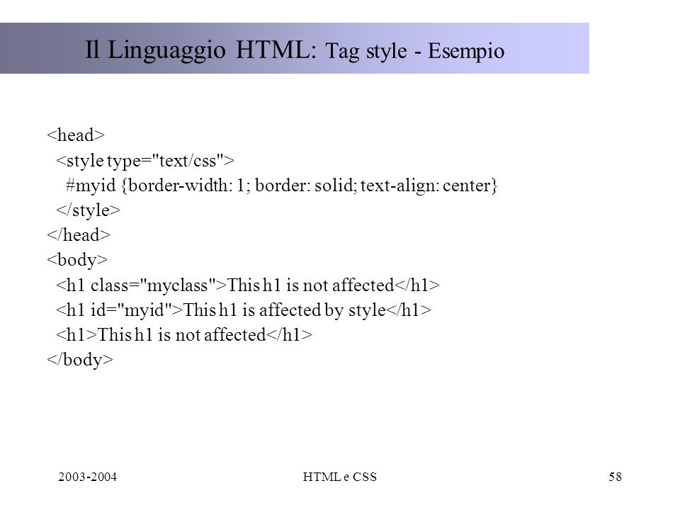 2003-2004HTML e CSS58 Il Linguaggio HTML: Tag style - Esempio #myid {border-width: 1; border: solid; text-align: center} This h1 is not affected This h1 is affected by style This h1 is not affected