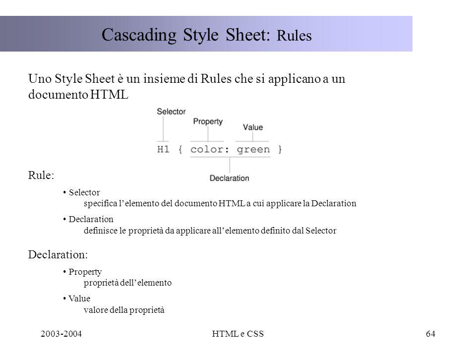 2003-2004HTML e CSS64 Cascading Style Sheet: Rules Uno Style Sheet è un insieme di Rules che si applicano a un documento HTML Rule: Selector specifica lelemento del documento HTML a cui applicare la Declaration Declaration definisce le proprietà da applicare allelemento definito dal Selector Declaration: Property proprietà dellelemento Value valore della proprietà