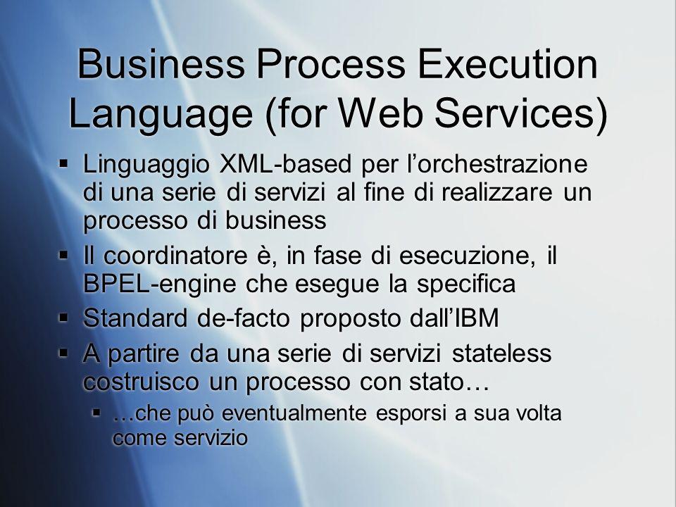 Business Process Execution Language (for Web Services) Linguaggio XML-based per lorchestrazione di una serie di servizi al fine di realizzare un processo di business Il coordinatore è, in fase di esecuzione, il BPEL-engine che esegue la specifica Standard de-facto proposto dallIBM A partire da una serie di servizi stateless costruisco un processo con stato… …che può eventualmente esporsi a sua volta come servizio Linguaggio XML-based per lorchestrazione di una serie di servizi al fine di realizzare un processo di business Il coordinatore è, in fase di esecuzione, il BPEL-engine che esegue la specifica Standard de-facto proposto dallIBM A partire da una serie di servizi stateless costruisco un processo con stato… …che può eventualmente esporsi a sua volta come servizio