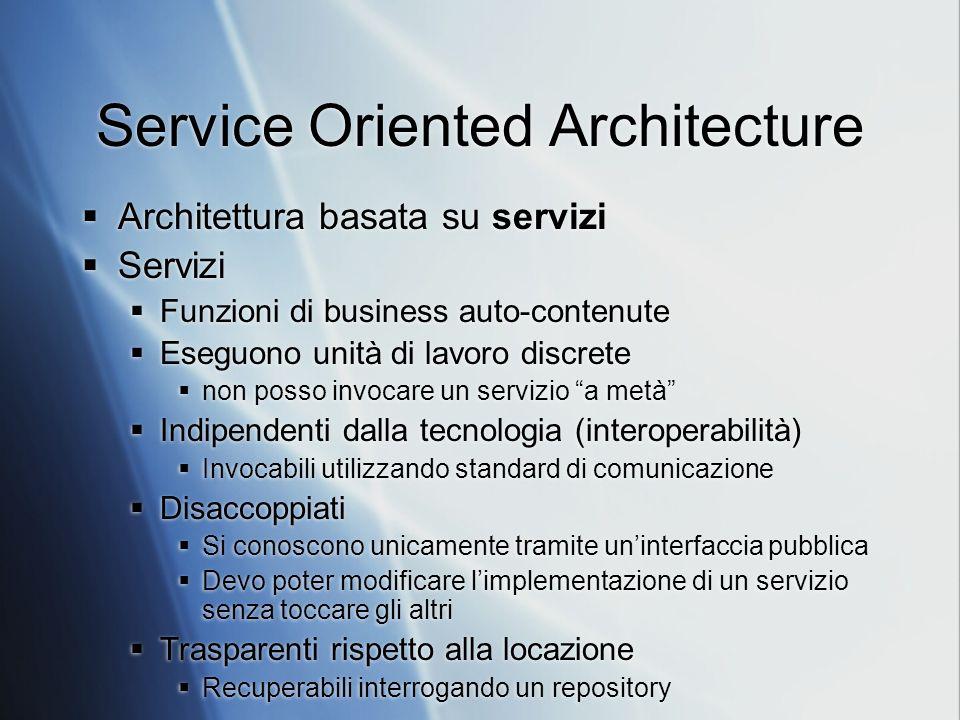 Service Oriented Architecture Architettura basata su servizi Servizi Funzioni di business auto-contenute Eseguono unità di lavoro discrete non posso i