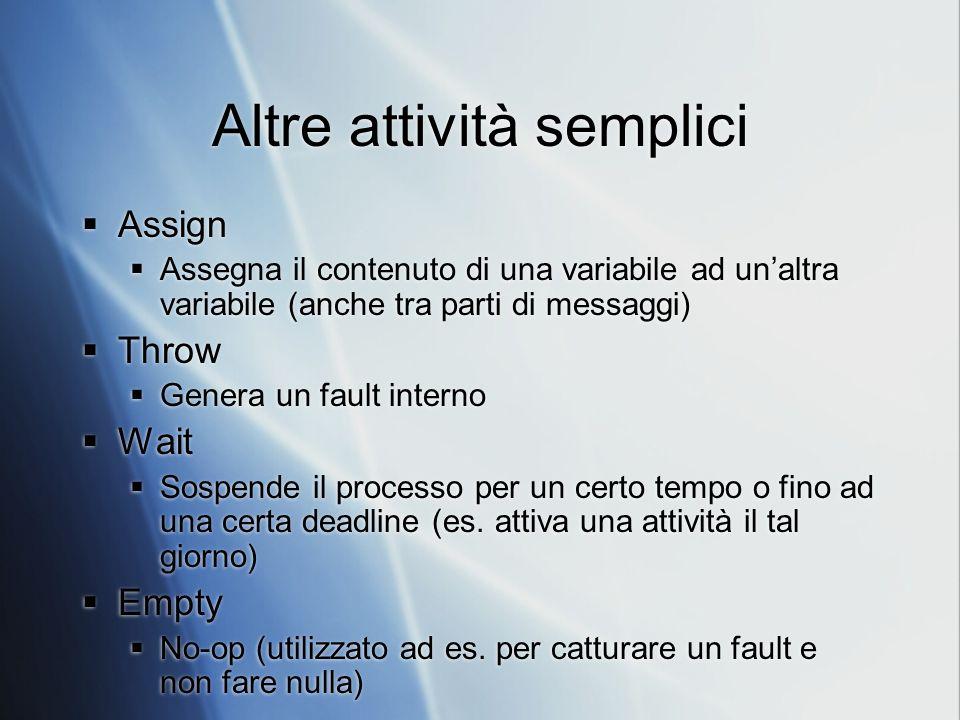 Altre attività semplici Assign Assegna il contenuto di una variabile ad unaltra variabile (anche tra parti di messaggi) Throw Genera un fault interno Wait Sospende il processo per un certo tempo o fino ad una certa deadline (es.