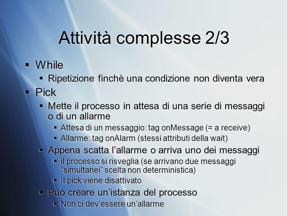 Attività complesse 2/3 While Ripetizione finchè una condizione non diventa vera Pick Mette il processo in attesa di una serie di messaggi o di un alla