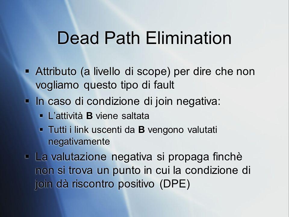 Dead Path Elimination Attributo (a livello di scope) per dire che non vogliamo questo tipo di fault In caso di condizione di join negativa: Lattività B viene saltata Tutti i link uscenti da B vengono valutati negativamente La valutazione negativa si propaga finchè non si trova un punto in cui la condizione di join dà riscontro positivo (DPE) Attributo (a livello di scope) per dire che non vogliamo questo tipo di fault In caso di condizione di join negativa: Lattività B viene saltata Tutti i link uscenti da B vengono valutati negativamente La valutazione negativa si propaga finchè non si trova un punto in cui la condizione di join dà riscontro positivo (DPE)