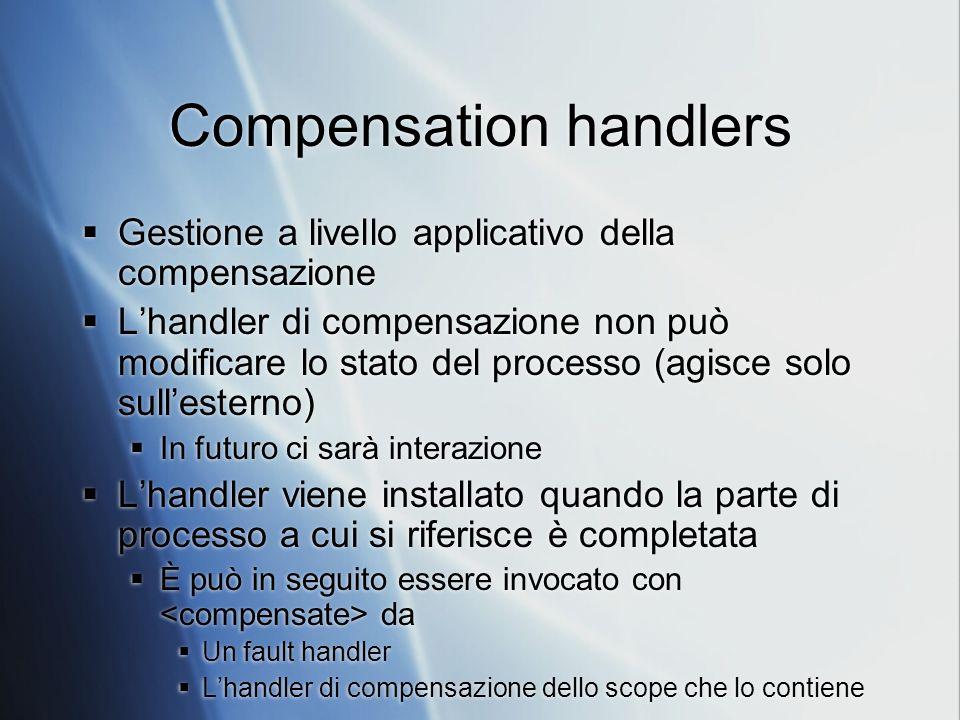 Compensation handlers Gestione a livello applicativo della compensazione Lhandler di compensazione non può modificare lo stato del processo (agisce solo sullesterno) In futuro ci sarà interazione Lhandler viene installato quando la parte di processo a cui si riferisce è completata È può in seguito essere invocato con da Un fault handler Lhandler di compensazione dello scope che lo contiene Gestione a livello applicativo della compensazione Lhandler di compensazione non può modificare lo stato del processo (agisce solo sullesterno) In futuro ci sarà interazione Lhandler viene installato quando la parte di processo a cui si riferisce è completata È può in seguito essere invocato con da Un fault handler Lhandler di compensazione dello scope che lo contiene