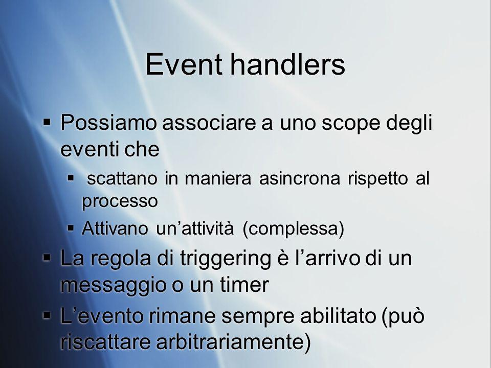Event handlers Possiamo associare a uno scope degli eventi che scattano in maniera asincrona rispetto al processo Attivano unattività (complessa) La r