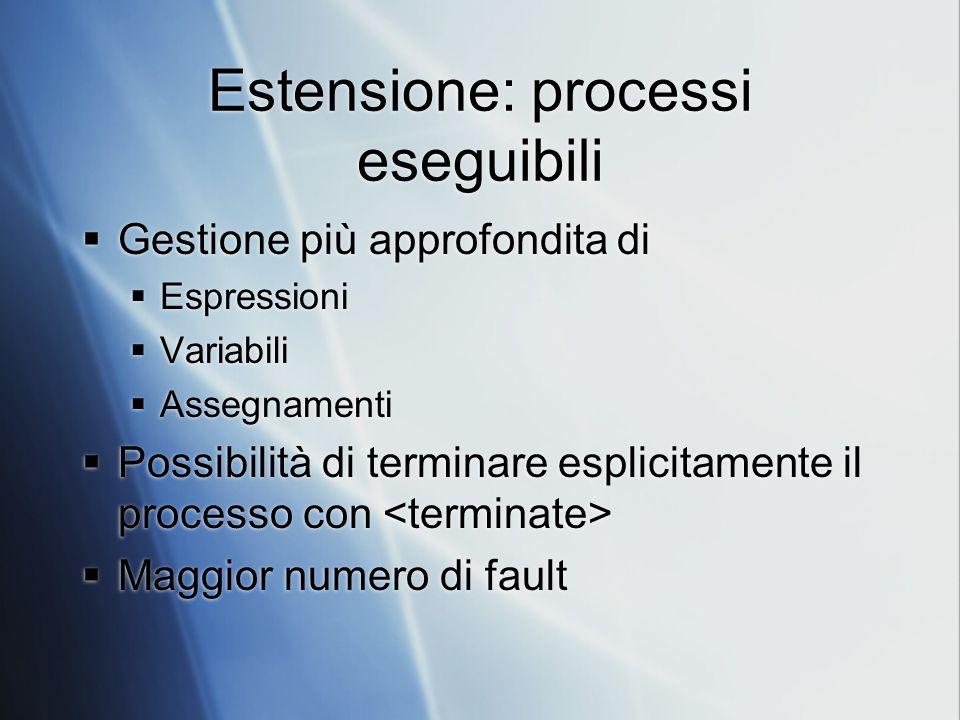 Estensione: processi eseguibili Gestione più approfondita di Espressioni Variabili Assegnamenti Possibilità di terminare esplicitamente il processo con Maggior numero di fault Gestione più approfondita di Espressioni Variabili Assegnamenti Possibilità di terminare esplicitamente il processo con Maggior numero di fault