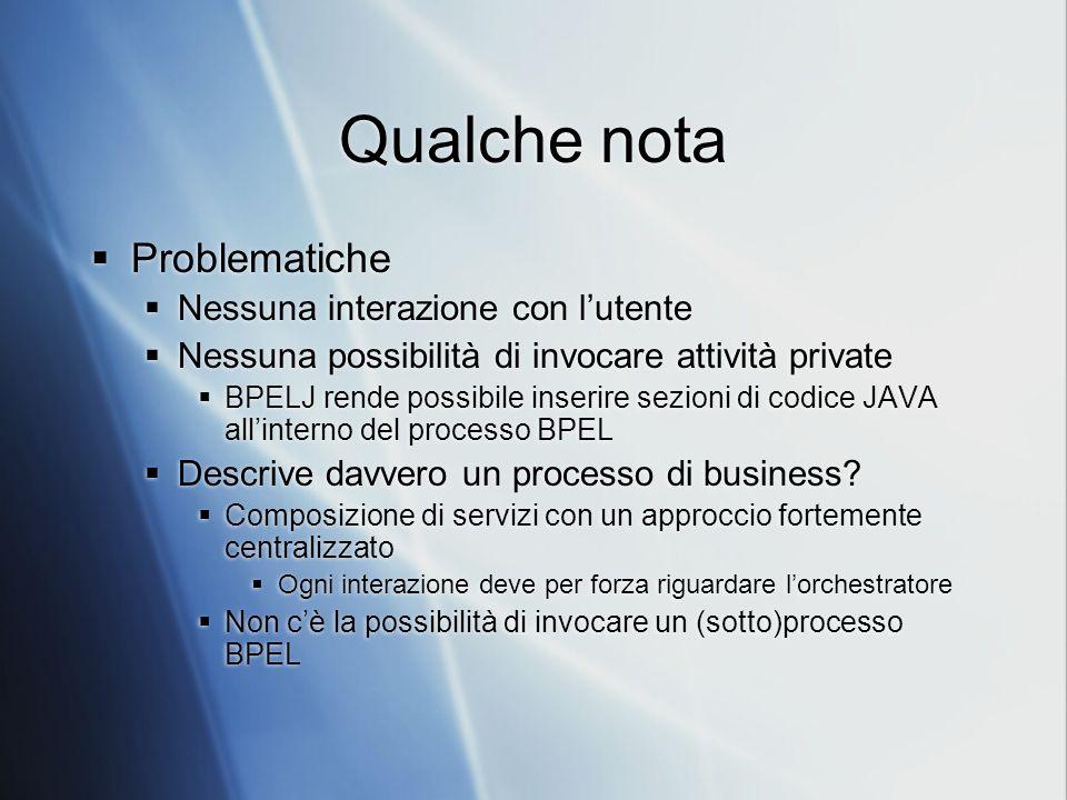 Qualche nota Problematiche Nessuna interazione con lutente Nessuna possibilità di invocare attività private BPELJ rende possibile inserire sezioni di codice JAVA allinterno del processo BPEL Descrive davvero un processo di business.