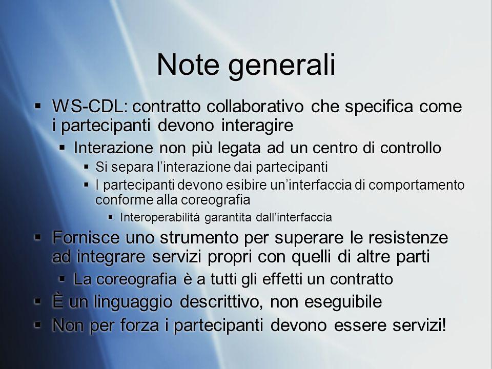 Note generali WS-CDL: contratto collaborativo che specifica come i partecipanti devono interagire Interazione non più legata ad un centro di controllo