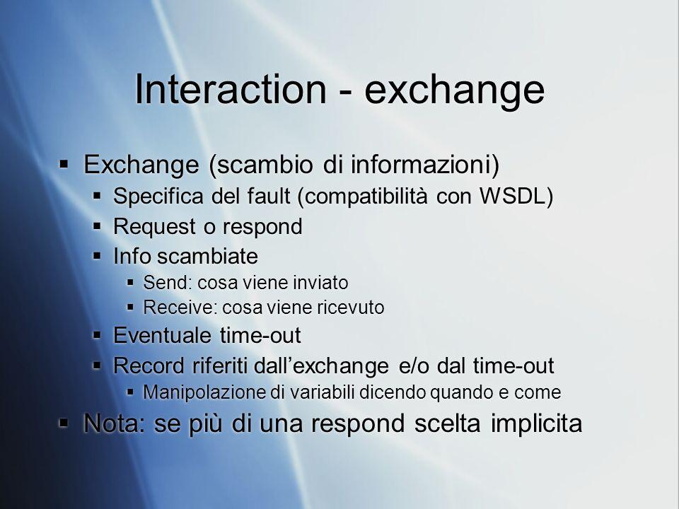 Interaction - exchange Exchange (scambio di informazioni) Specifica del fault (compatibilità con WSDL) Request o respond Info scambiate Send: cosa viene inviato Receive: cosa viene ricevuto Eventuale time-out Record riferiti dallexchange e/o dal time-out Manipolazione di variabili dicendo quando e come Nota: se più di una respond scelta implicita Exchange (scambio di informazioni) Specifica del fault (compatibilità con WSDL) Request o respond Info scambiate Send: cosa viene inviato Receive: cosa viene ricevuto Eventuale time-out Record riferiti dallexchange e/o dal time-out Manipolazione di variabili dicendo quando e come Nota: se più di una respond scelta implicita