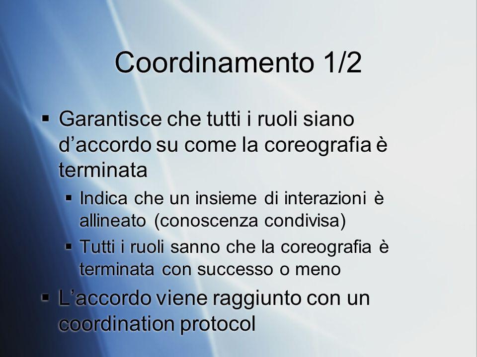 Coordinamento 1/2 Garantisce che tutti i ruoli siano daccordo su come la coreografia è terminata Indica che un insieme di interazioni è allineato (con