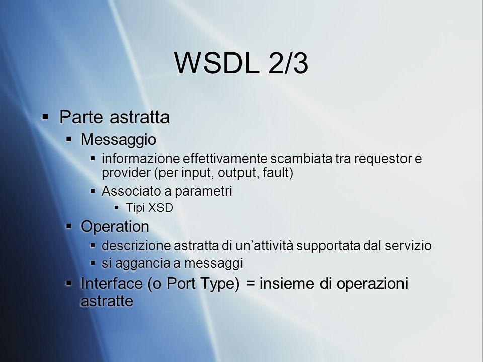 WSDL 2/3 Parte astratta Messaggio informazione effettivamente scambiata tra requestor e provider (per input, output, fault) Associato a parametri Tipi XSD Operation descrizione astratta di unattività supportata dal servizio si aggancia a messaggi Interface (o Port Type) = insieme di operazioni astratte Parte astratta Messaggio informazione effettivamente scambiata tra requestor e provider (per input, output, fault) Associato a parametri Tipi XSD Operation descrizione astratta di unattività supportata dal servizio si aggancia a messaggi Interface (o Port Type) = insieme di operazioni astratte