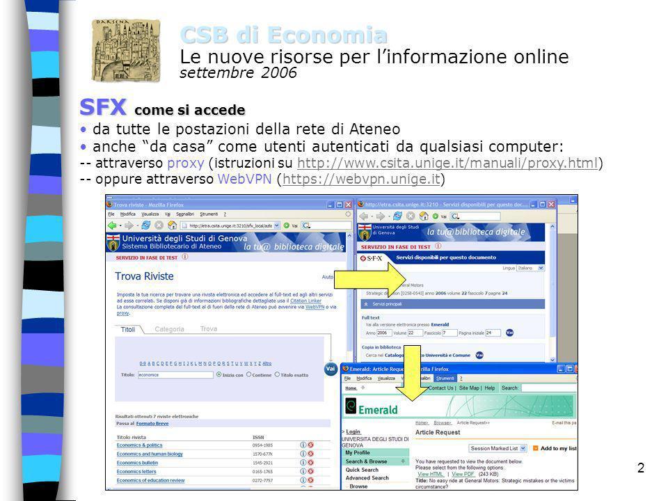 1 CSB di Economia Le nuove risorse per linformazione online settembre 2006 SFX cosa è e a cosa serve SFX è un software acquisito e implementato dallAt