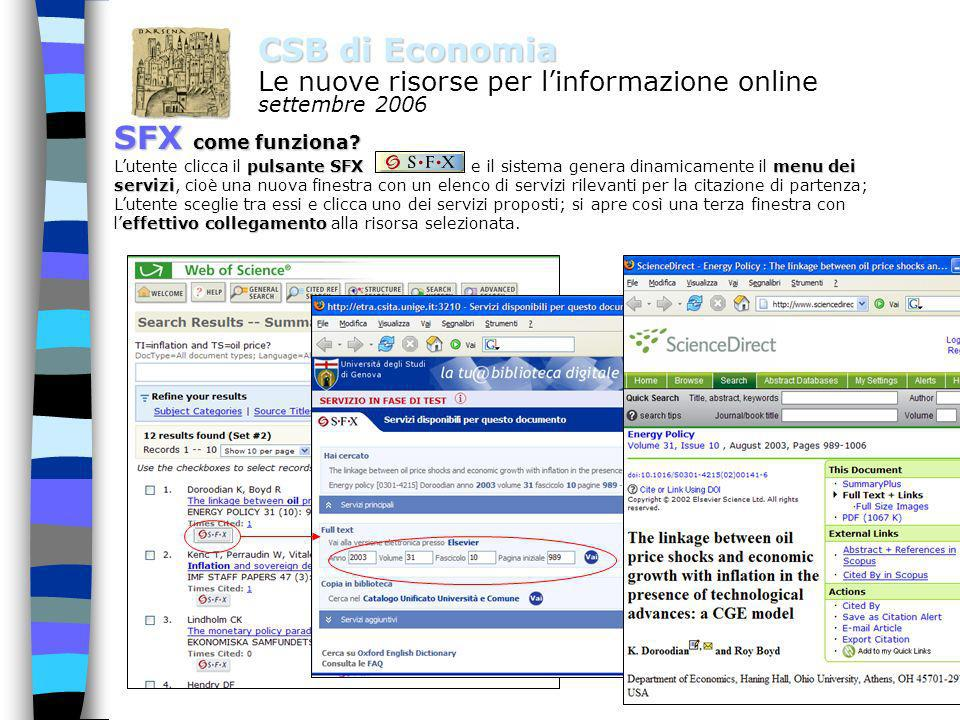 2 CSB di Economia Le nuove risorse per linformazione online settembre 2006 SFX come si accede da tutte le postazioni della rete di Ateneo anche da casa come utenti autenticati da qualsiasi computer: -- attraverso proxy (istruzioni su http://www.csita.unige.it/manuali/proxy.html)http://www.csita.unige.it/manuali/proxy.html -- oppure attraverso WebVPN (https://webvpn.unige.it)https://webvpn.unige.it