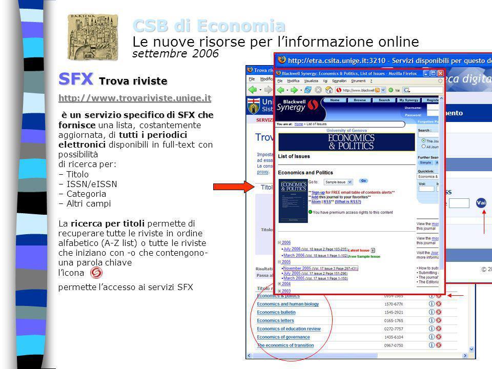 5 CSB di Economia Le nuove risorse per linformazione online settembre 2006 SFX e se non cè il full text ? SFX in ogni caso attiva una ricerca sul Cata