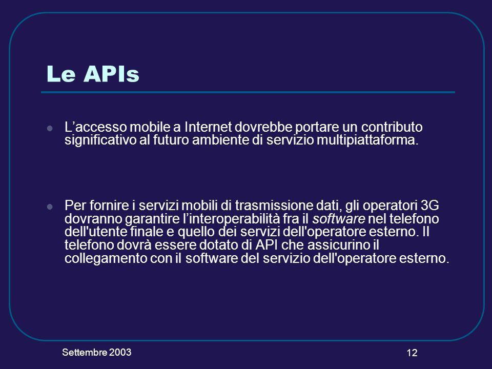 Settembre 2003 12 Le APIs Laccesso mobile a Internet dovrebbe portare un contributo significativo al futuro ambiente di servizio multipiattaforma. Per