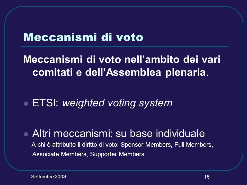 Settembre 2003 15 Meccanismi di voto Meccanismi di voto nellambito dei vari comitati e dellAssemblea plenaria. ETSI: weighted voting system Altri mecc