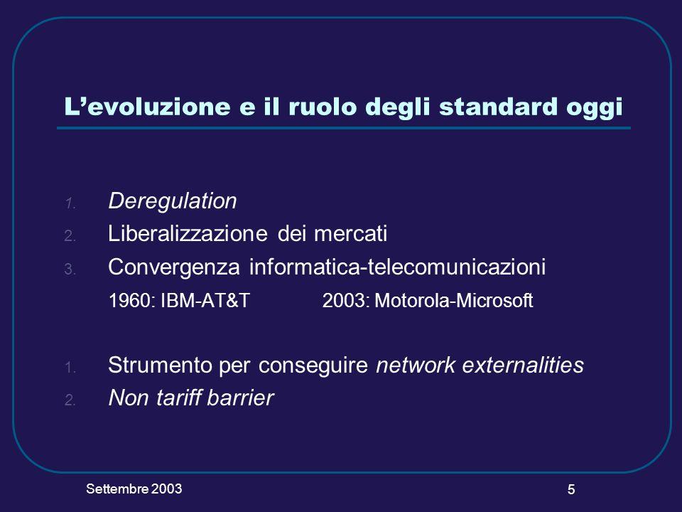 Settembre 2003 5 Levoluzione e il ruolo degli standard oggi 1. Deregulation 2. Liberalizzazione dei mercati 3. Convergenza informatica-telecomunicazio
