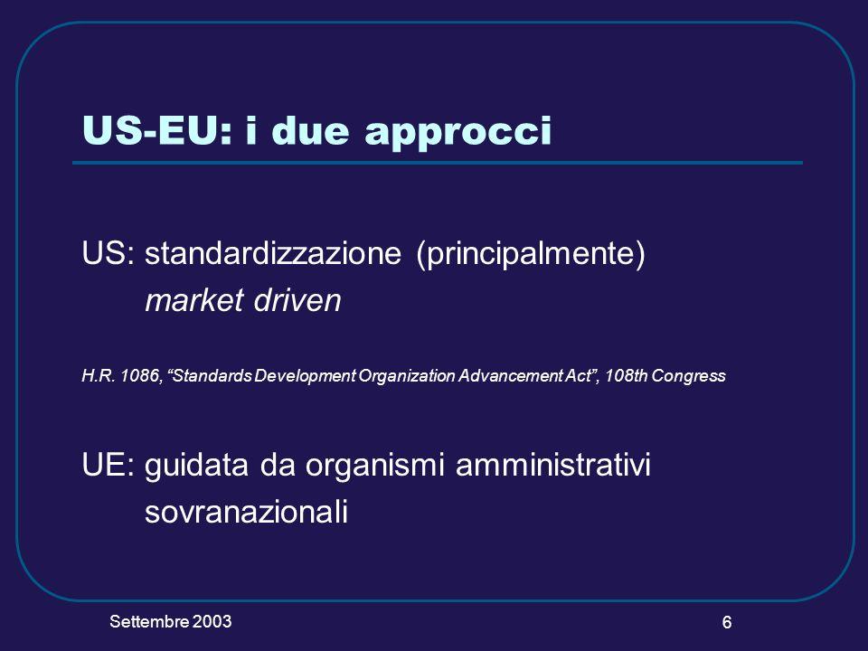 Settembre 2003 6 US-EU: i due approcci US: standardizzazione (principalmente) market driven H.R. 1086, Standards Development Organization Advancement