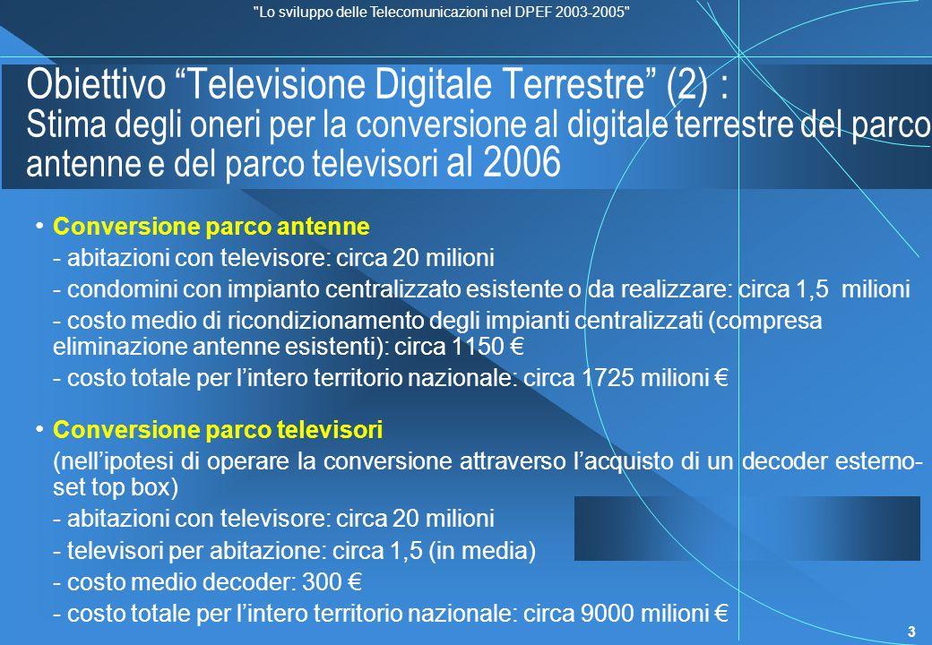 Lo sviluppo delle Telecomunicazioni nel DPEF 2003-2005 4 Obiettivo Televisione Digitale Terrestre (3) : Stima provvisoria degli oneri per la conversione al digitale terrestre delle reti di diffusione, distribuzione e contribuzione e dei relativi impianti Stima degli oneri comunicati al CIPE in sede di Legge Obiettivo - RAI, investimenti previsti nel periodo 2002-2007: 526,786 milioni gli investimenti sono così scadenzati: 2002: 4,9% 2003-2006: 70,6% 2007 e oltre: 24,5% - Mediaset, investimenti previsti nel periodo 2002-2007: 650 milioni gli investimenti sono così scadenzati: 2002: 0 % 2003-2006: 58 % 2007 e oltre: 42 % - La7, investimenti previsti nel periodo 2002-2007: compresi nel totale degli investimenti UMTS e Larga Banda (dettaglio non fornito) Costo di allestimento di una rete completa digitale nazionale (un multiplex) con copertura 92% della popolazione ed utilizzo dei 487 siti del PNAF: 101,4 milioni (RAI e Mediaset prevedono la realizzazione di più multiplex).