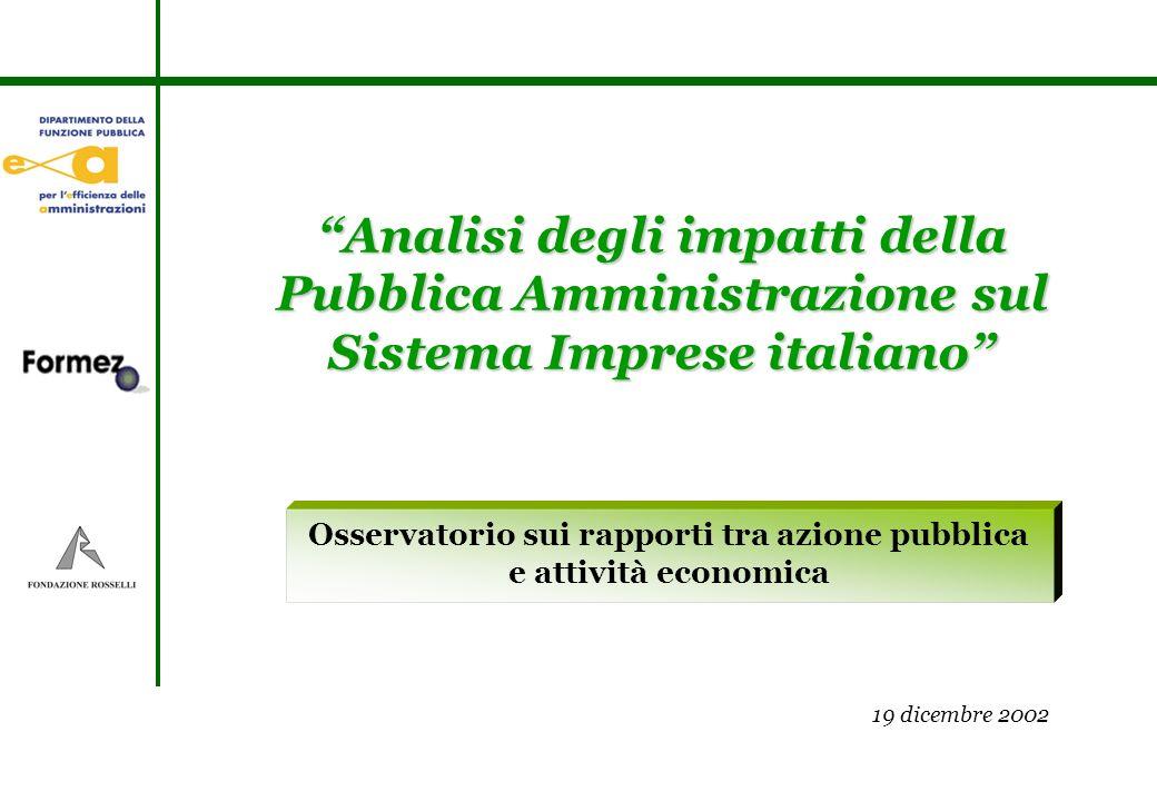 Osservatorio sui rapporti tra azione pubblica e attività economica Analisi degli impatti della Pubblica Amministrazione sul Sistema Imprese italiano 19 dicembre 2002