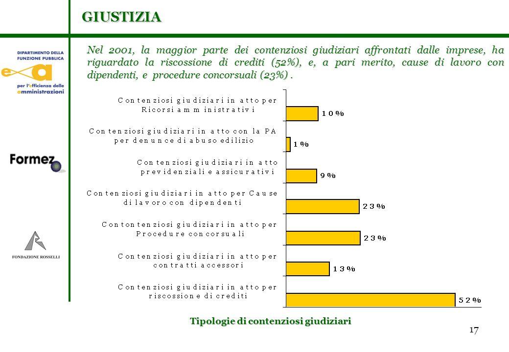 17 Nel 2001, la maggior parte dei contenziosi giudiziari affrontati dalle imprese, ha riguardato la riscossione di crediti (52%), e, a pari merito, cause di lavoro con dipendenti, e procedure concorsuali (23%).