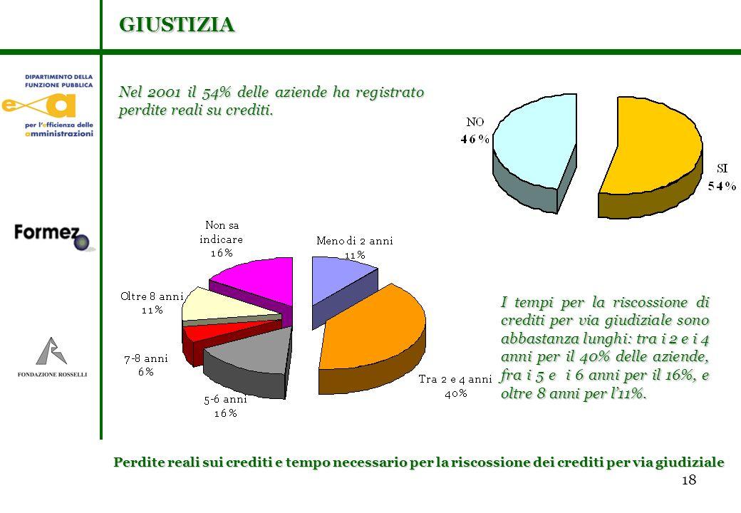 18 Nel 2001 il 54% delle aziende ha registrato perdite reali su crediti.
