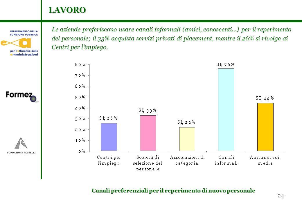 24 Le aziende preferiscono usare canali informali (amici, conoscenti…) per il reperimento del personale; il 33% acquista servizi privati di placement, mentre il 26% si rivolge ai Centri per limpiego.