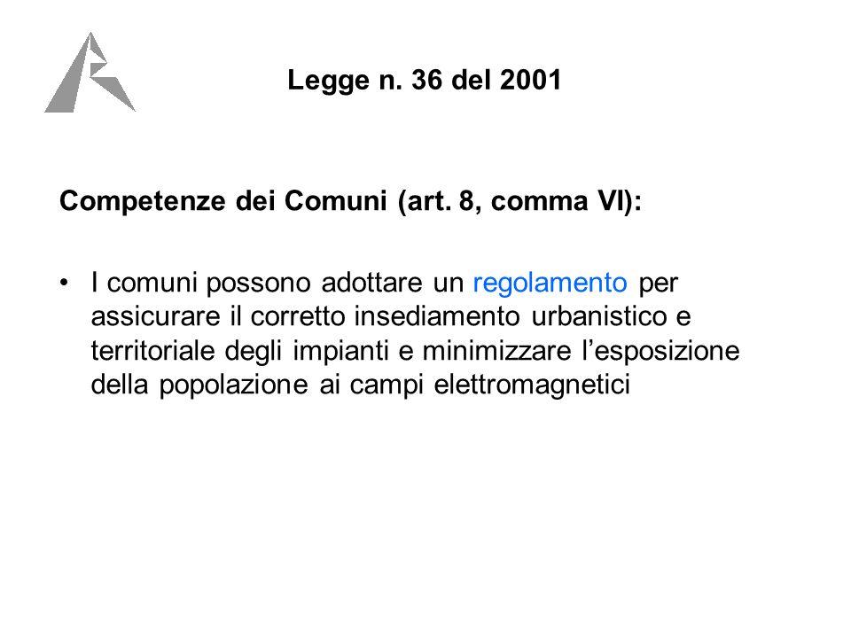 Legge n. 36 del 2001 Competenze dei Comuni (art.