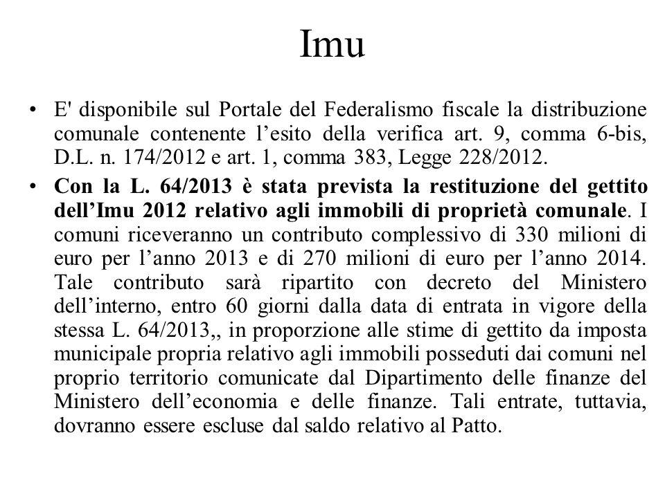 Imu E' disponibile sul Portale del Federalismo fiscale la distribuzione comunale contenente lesito della verifica art. 9, comma 6-bis, D.L. n. 174/201