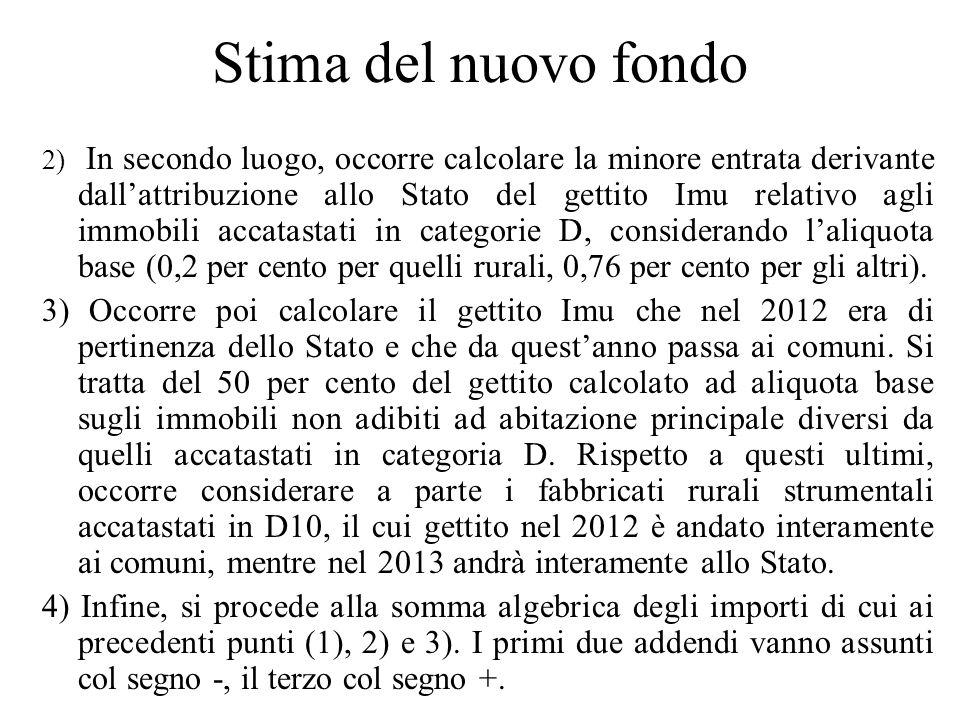 Stima del nuovo fondo 2) In secondo luogo, occorre calcolare la minore entrata derivante dallattribuzione allo Stato del gettito Imu relativo agli imm