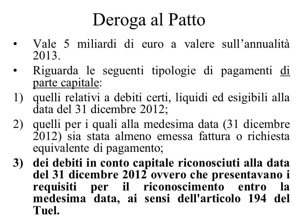Deroga al Patto Vale 5 miliardi di euro a valere sullannualità 2013. Riguarda le seguenti tipologie di pagamenti di parte capitale: 1)quelli relativi