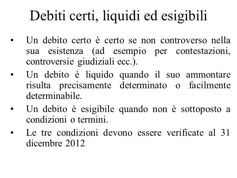 Debiti certi, liquidi ed esigibili Un debito certo è certo se non controverso nella sua esistenza (ad esempio per contestazioni, controversie giudizia
