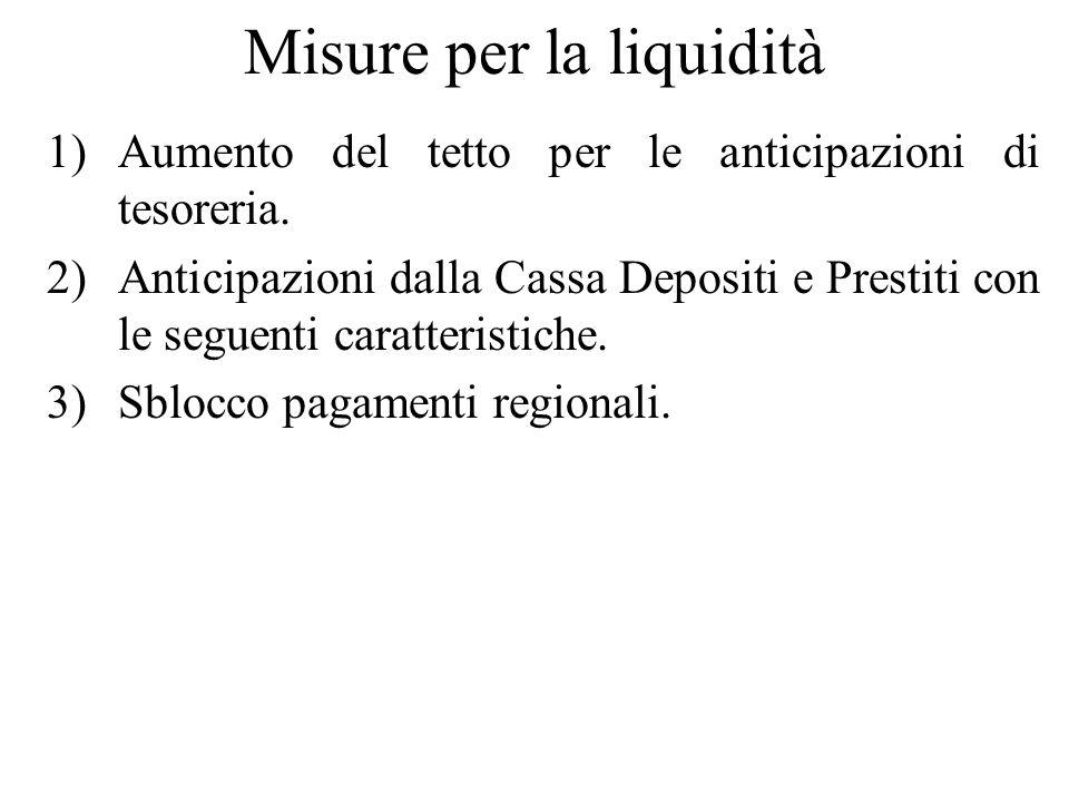Misure per la liquidità 1)Aumento del tetto per le anticipazioni di tesoreria. 2)Anticipazioni dalla Cassa Depositi e Prestiti con le seguenti caratte