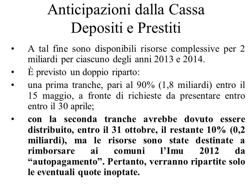 Anticipazioni dalla Cassa Depositi e Prestiti A tal fine sono disponibili risorse complessive per 2 miliardi per ciascuno degli anni 2013 e 2014. È pr