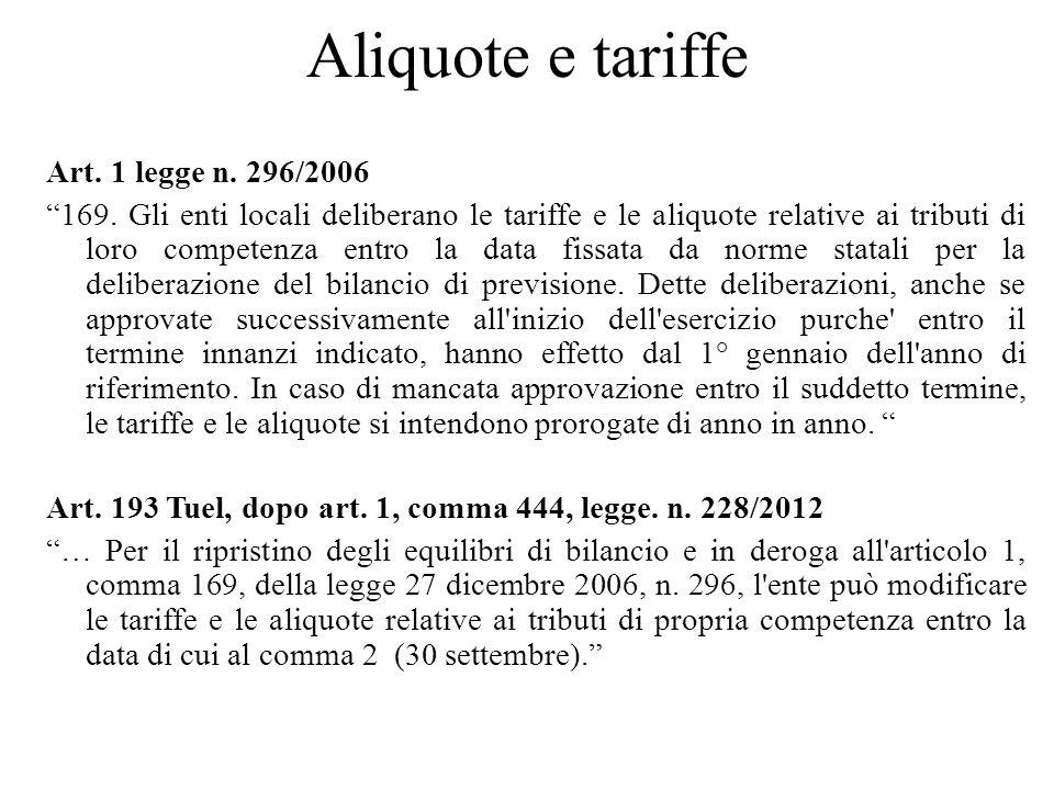 Aliquote e tariffe Art. 1 legge n. 296/2006 169. Gli enti locali deliberano le tariffe e le aliquote relative ai tributi di loro competenza entro la d