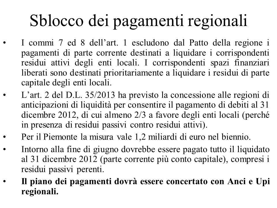 Sblocco dei pagamenti regionali I commi 7 ed 8 dellart. 1 escludono dal Patto della regione i pagamenti di parte corrente destinati a liquidare i corr