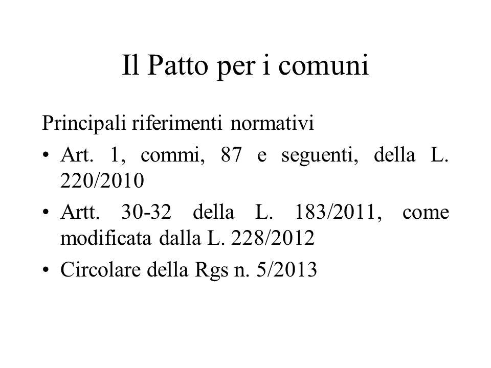 Il Patto per i comuni Principali riferimenti normativi Art. 1, commi, 87 e seguenti, della L. 220/2010 Artt. 30-32 della L. 183/2011, come modificata