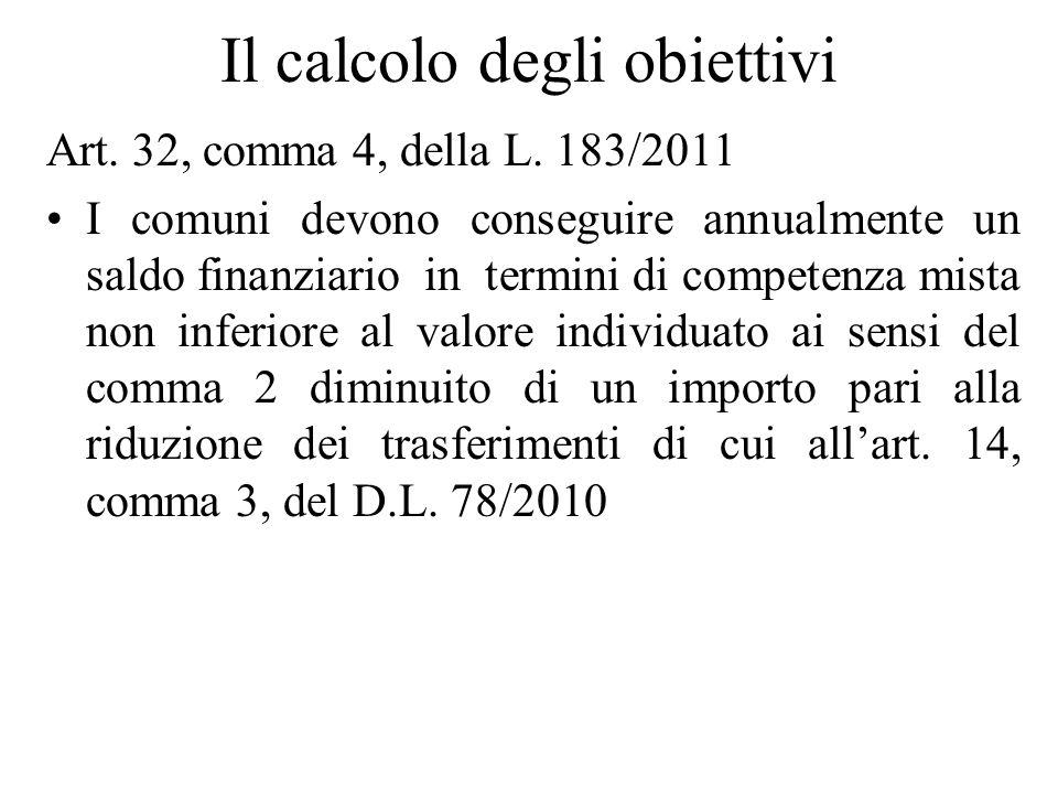 Il calcolo degli obiettivi Art. 32, comma 4, della L. 183/2011 I comuni devono conseguire annualmente un saldo finanziario in termini di competenza mi
