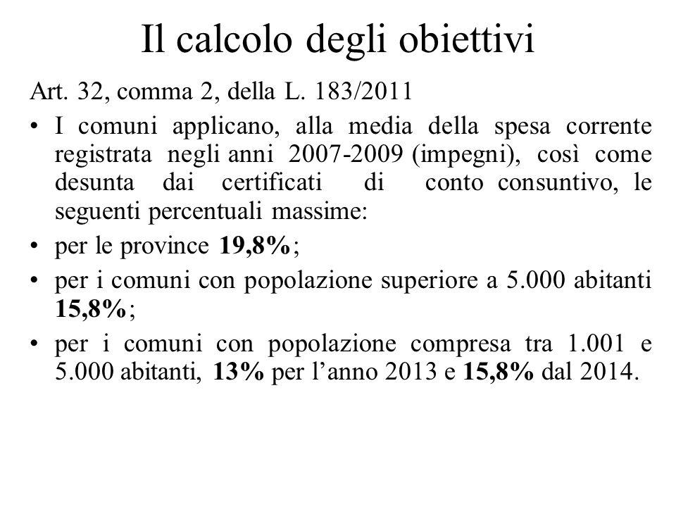 Il calcolo degli obiettivi Art. 32, comma 2, della L. 183/2011 I comuni applicano, alla media della spesa corrente registrata negli anni 2007-2009 (im