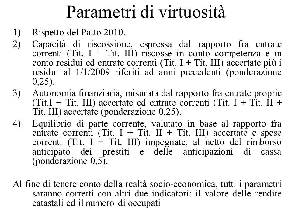 Parametri di virtuosità 1)Rispetto del Patto 2010. 2)Capacità di riscossione, espressa dal rapporto fra entrate correnti (Tit. I + Tit. III) riscosse