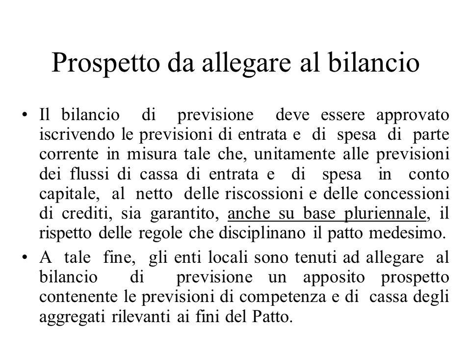 Prospetto da allegare al bilancio Il bilancio di previsione deve essere approvato iscrivendo le previsioni di entrata e di spesa di parte corrente in