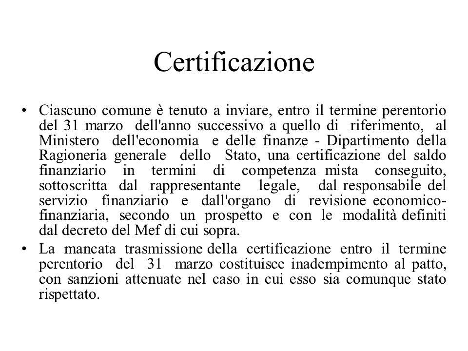Certificazione Ciascuno comune è tenuto a inviare, entro il termine perentorio del 31 marzo dell'anno successivo a quello di riferimento, al Ministero