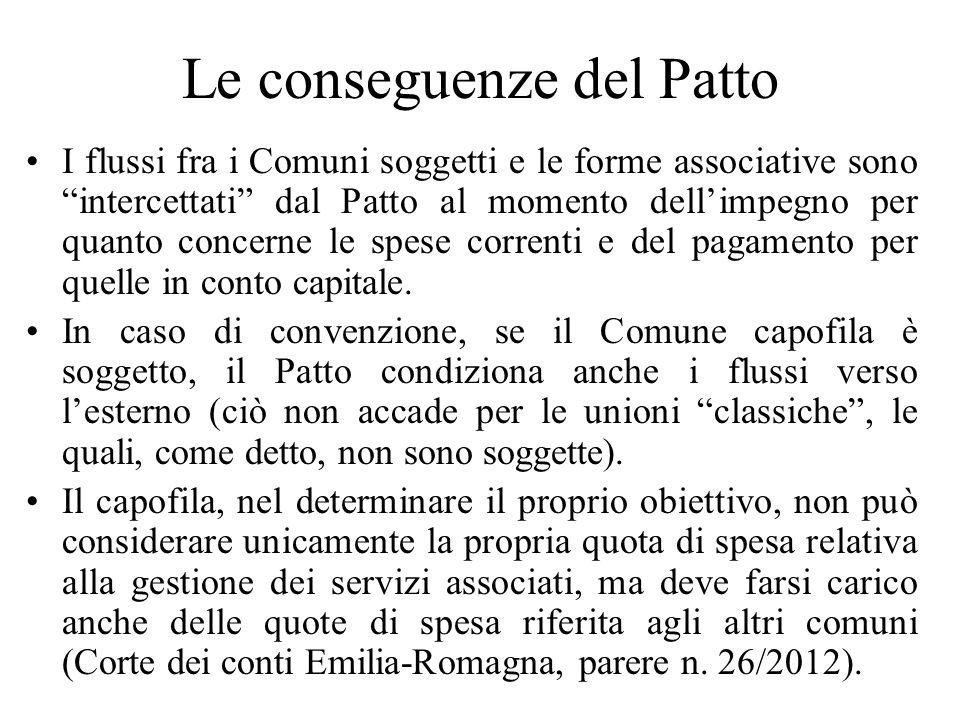 Le conseguenze del Patto I flussi fra i Comuni soggetti e le forme associative sono intercettati dal Patto al momento dellimpegno per quanto concerne