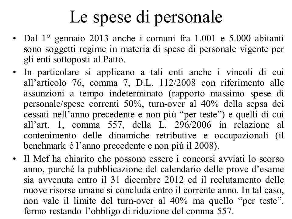 Le spese di personale Dal 1° gennaio 2013 anche i comuni fra 1.001 e 5.000 abitanti sono soggetti regime in materia di spese di personale vigente per
