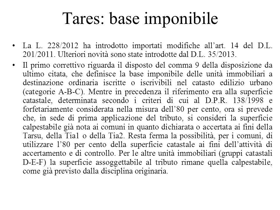 Tares: base imponibile La L. 228/2012 ha introdotto importati modifiche allart. 14 del D.L. 201/2011. Ulteriori novità sono state introdotte dal D.L.