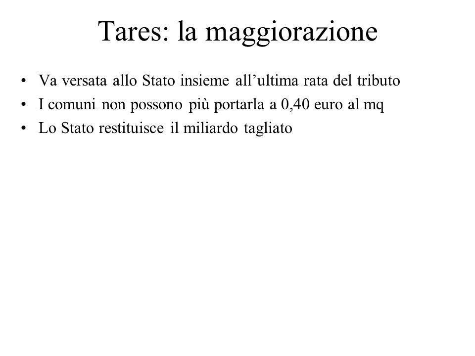 Tares: la maggiorazione Va versata allo Stato insieme allultima rata del tributo I comuni non possono più portarla a 0,40 euro al mq Lo Stato restitui