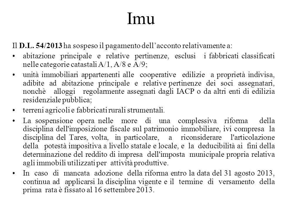 Imu Il D.L. 54/2013 ha sospeso il pagamento dellacconto relativamente a: abitazione principale e relative pertinenze, esclusi i fabbricati classificat
