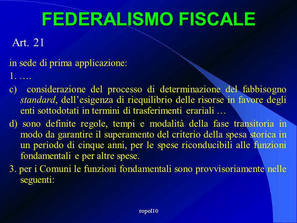 ropol10 FEDERALISMO FISCALE Art. 21 in sede di prima applicazione: 1. …. c) considerazione del processo di determinazione del fabbisogno standard, del