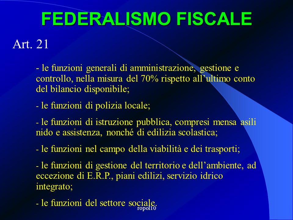 ropol10 FEDERALISMO FISCALE Art. 21 - le funzioni generali di amministrazione, gestione e controllo, nella misura del 70% rispetto allultimo conto del